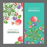 Vektorfahne eingestellt mit Blumenverzierung Rose, Tulpe, Blatt abstraktes Muster im Vektor Lizenzfreie Stockfotografie