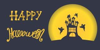 Vektorfahne Halloween Furchtsames altes Schloss auf einem Hintergrund eines Vollmonds und der Fliegengeister Handbeschriftung Stockbilder