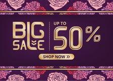 Vektorfahne mit großen Verkauf jetzt beschriften Shop von bis fünfzig Prozent und romantische Blumen Stockbild