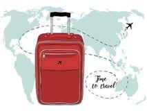 Vektorfahne mit Reisetasche und -Weltkarte Lizenzfreie Stockbilder