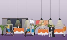 Vektorfahne mit Restaurantinnenraum Leute, die im Café zu Abend essen Champagne mit den Fliegenballonen und Sankt-Hut lokalisiert lizenzfreie abbildung