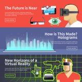 Vektorfahnen der virtueller Realität Stockfoto