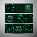 Vektorfahnen stellten mit abstraktem Technologiehintergrund der grünen Lichter ein Stockfotografie