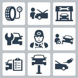 Vektorfahrzeug-Tankstelleikonen Lizenzfreie Stockfotografie