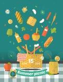 Vektorfamilienpicknick-Lichtungsillustration Lebensmittel und Lizenzfreies Stockbild