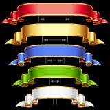 Vektorfarbbänder eingestellt getrennt auf schwarzem Hintergrund Stockfotografie