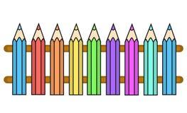 Vektorfarbe zeichnet Zaun Stockfotografie