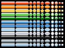 Vektorfarbige und glänzende Web-Tasten Stockfoto