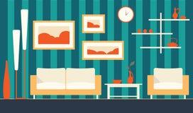 Vektorfarbinnenraum des modernen Wohnzimmers der Karikatur Lizenzfreie Stockfotos
