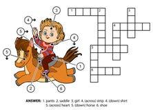 Vektorfarbkreuzworträtsel Kleines Mädchen auf einem Pferd Lizenzfreie Stockfotografie