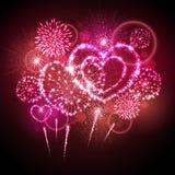 Vektorfeiertags-Valentinsgrußfeuerwerk Lizenzfreie Stockfotografie