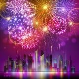 Vektorfeiertagsfeuerwerk und nignt Stadt Lizenzfreies Stockbild