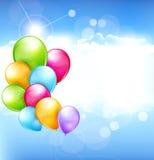 Vektorfeiertagshintergrund mit Ballonen Stockbild