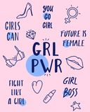 Vektorfeministben och sassy slogansamling vektor illustrationer