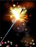 Vektorferiebakgrunden med tände sparklers royaltyfri illustrationer