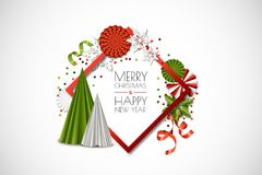 Vektorferieram med pappers- garnering, snöflingor, julgran Glad jul, hälsningkort för lyckligt nytt år vektor illustrationer