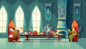 Vektorfestmåltidbegreppet, konungen, drottning äter mat stock illustrationer