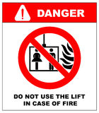 Vektorfeuer-Notikonen Benutzen Sie den Aufzug nicht im Falle des Feuers lizenzfreie abbildung