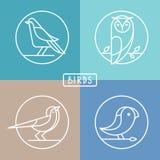 Vektorfågelsymboler i översiktsstil Arkivbilder
