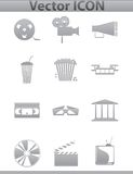 Vektorfilmikonen. Film- und Quadratgrauikonen Lizenzfreie Stockfotos