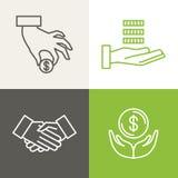 Vektorfinans- och bankrörelsesymboler stock illustrationer