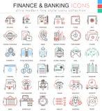 Vektorfinans och packa ihop den ultra moderna färgöversiktslinjen symboler för apps och rengöringsdukdesign Uppsättning för finan royaltyfri illustrationer
