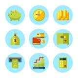 Vektorfinans och pengarsymbolsuppsättning Arkivbild