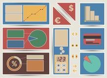 Vektorfinanz-baners und -ikonen für Schieber. Lizenzfreie Stockfotos