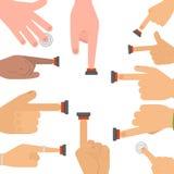Vektorfingersteuerung des roten Knopfes der Handpresse laufen Armstoßzeiger-Cursor-Zielgesteninternet-Menschenkörperteil an Stockfotografie