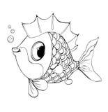 Vektorfisk från en saga Bra fisk för en färgläggning för barn s Fotografering för Bildbyråer