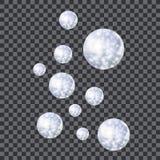 Vektorflödesbubblor, skinande magiska bollar, den realistiska illustrationen isolerade vektor illustrationer