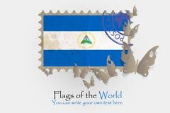 Vektorflaggamätningar med fjärilar från papper royaltyfri illustrationer