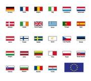 Vektorflaggor av den europeiska unionen royaltyfri illustrationer