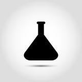 Vektorflaschenikone Vektorchemieikone mit Laborglaswaren Konzept der wissenschaftlichen medizinischen und Industrieforschung oder Lizenzfreie Stockfotos