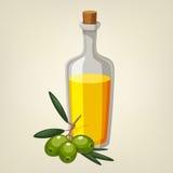 Vektorflaska av olivolja med en filial av gröna oliv Vektor Illustrationer