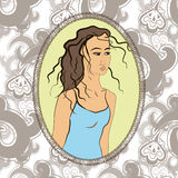 Vektorflicka i ram- och modellbakgrund Royaltyfria Bilder