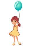 Vektorflicka med ballongen Royaltyfria Bilder