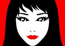 Vektorflicka med röd läppstift stock illustrationer