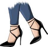Vektorflickor i höga häl Text och teckning av flickan Kvinnligben i skor Gullig design Moderiktig bild i modestil vektor illustrationer