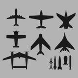 Vektorflygplansymboler Royaltyfri Illustrationer