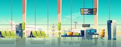 Vektorflygplatskorridor med säkerhetskontroll, metalldetektor royaltyfri illustrationer