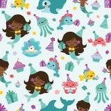Vektorfolk av bakgrund för modell för vänner för hav för färgsjöjungfrufödelsedag sömlös royaltyfri illustrationer