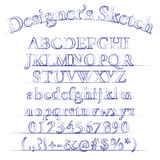 Vektorformgivaren skissar alfabet Arkivbild