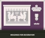 Vektorformteilelemente für Dekoration Klassisches Formteil auf purpurroter Wand Luxuswandgestaltung mit Formteilen Dekorative Bän Lizenzfreies Stockbild