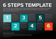 Vektorfortschritt sechs Schrittschablone Stockfotografie