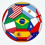 Vektorfotboll med olika flaggor royaltyfri illustrationer