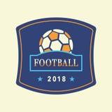 Vektorfotbollturnering Logo Template 2018 Arkivbilder