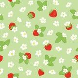 Vektorfrühlingsblüten- und -erdbeerwiederholung mit Blumen lizenzfreie abbildung