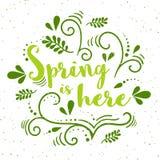 Vektorfrühlingsfahne mit Handzeichnungsmuster Frühling ist hier - Typografie mit Schmutzbeschaffenheit Stockfotos