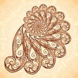 Vektorfractalspiral i hennatatueringstil Arkivbild